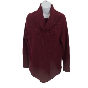 Hilary Radley Burgundy Extra Long Knit Sweater